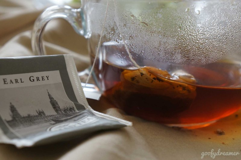 This morning. Earl Grey. No sugar, bitter and it was good.